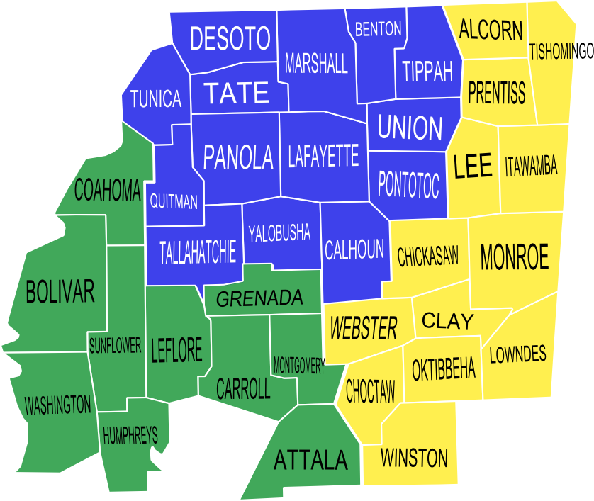 Map Counties Served By Division Northern District Of - Counties in ms map